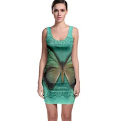 Butterfly Background Vintage Old Grunge Sleeveless Bodycon Dress
