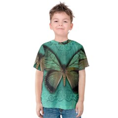 Butterfly Background Vintage Old Grunge Kids  Cotton Tee