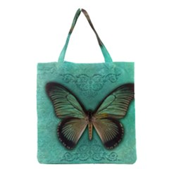 Butterfly Background Vintage Old Grunge Grocery Tote Bag