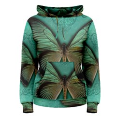 Butterfly Background Vintage Old Grunge Women s Pullover Hoodie