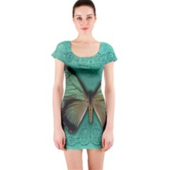 Butterfly Background Vintage Old Grunge Short Sleeve Bodycon Dress