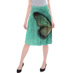 Butterfly Background Vintage Old Grunge Midi Beach Skirt