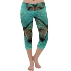 Butterfly Background Vintage Old Grunge Capri Yoga Leggings