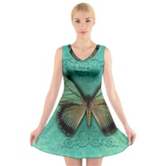 Butterfly Background Vintage Old Grunge V-Neck Sleeveless Skater Dress