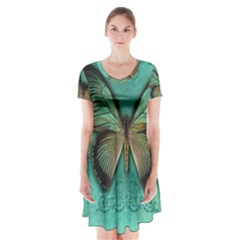 Butterfly Background Vintage Old Grunge Short Sleeve V-neck Flare Dress