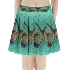 Butterfly Background Vintage Old Grunge Pleated Mini Skirt