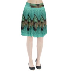Butterfly Background Vintage Old Grunge Pleated Skirt