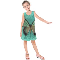 Butterfly Background Vintage Old Grunge Kids  Sleeveless Dress