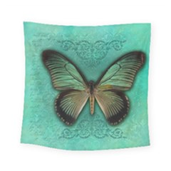 Butterfly Background Vintage Old Grunge Square Tapestry (small)