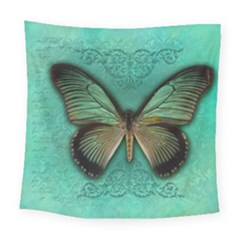 Butterfly Background Vintage Old Grunge Square Tapestry (large)
