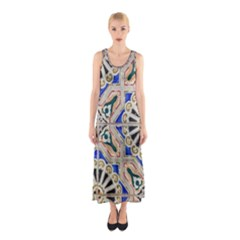 Ceramic Portugal Tiles Wall Sleeveless Maxi Dress