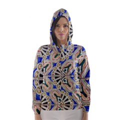 Ceramic Portugal Tiles Wall Hooded Wind Breaker (women)