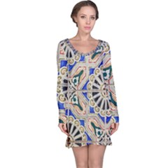 Ceramic Portugal Tiles Wall Long Sleeve Nightdress