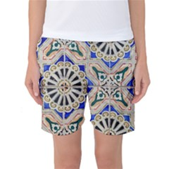 Ceramic Portugal Tiles Wall Women s Basketball Shorts