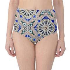 Ceramic Portugal Tiles Wall High Waist Bikini Bottoms