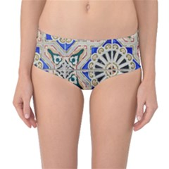 Ceramic Portugal Tiles Wall Mid Waist Bikini Bottoms