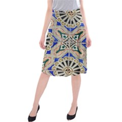 Ceramic Portugal Tiles Wall Midi Beach Skirt