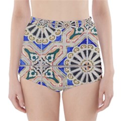 Ceramic Portugal Tiles Wall High-Waisted Bikini Bottoms