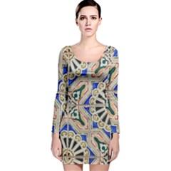 Ceramic Portugal Tiles Wall Long Sleeve Velvet Bodycon Dress