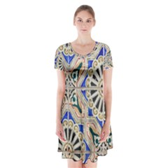 Ceramic Portugal Tiles Wall Short Sleeve V-neck Flare Dress