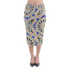 Ceramic Portugal Tiles Wall Midi Pencil Skirt