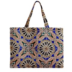 Ceramic Portugal Tiles Wall Medium Zipper Tote Bag
