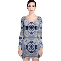 Ceramic Portugal Tiles Wall Long Sleeve Bodycon Dress