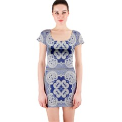 Ceramic Portugal Tiles Wall Short Sleeve Bodycon Dress