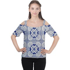 Ceramic Portugal Tiles Wall Women s Cutout Shoulder Tee