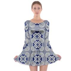 Ceramic Portugal Tiles Wall Long Sleeve Skater Dress