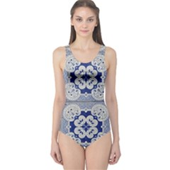 Ceramic Portugal Tiles Wall One Piece Swimsuit