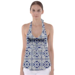 Ceramic Portugal Tiles Wall Babydoll Tankini Top