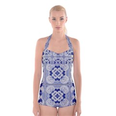 Ceramic Portugal Tiles Wall Boyleg Halter Swimsuit