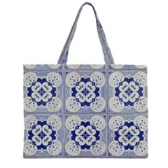 Ceramic Portugal Tiles Wall Zipper Large Tote Bag