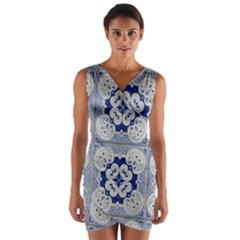 Ceramic Portugal Tiles Wall Wrap Front Bodycon Dress