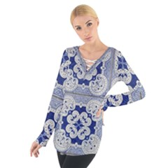 Ceramic Portugal Tiles Wall Women s Tie Up Tee