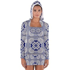 Ceramic Portugal Tiles Wall Women s Long Sleeve Hooded T Shirt