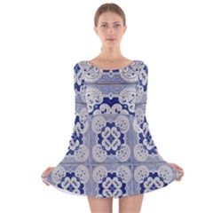 Ceramic Portugal Tiles Wall Long Sleeve Velvet Skater Dress