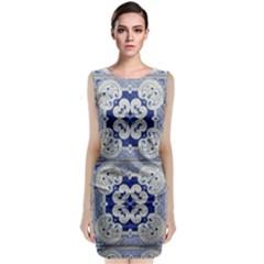 Ceramic Portugal Tiles Wall Classic Sleeveless Midi Dress