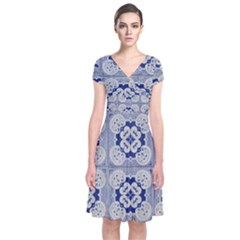 Ceramic Portugal Tiles Wall Short Sleeve Front Wrap Dress