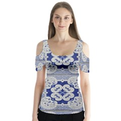 Ceramic Portugal Tiles Wall Butterfly Sleeve Cutout Tee