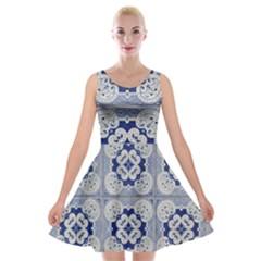 Ceramic Portugal Tiles Wall Velvet Skater Dress