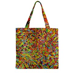 Canvas Acrylic Design Color Zipper Grocery Tote Bag
