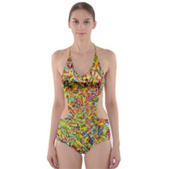 Canvas Acrylic Design Color Cut Out One Piece Swimsuit