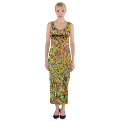 Canvas Acrylic Design Color Fitted Maxi Dress
