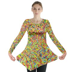Canvas Acrylic Design Color Long Sleeve Tunic