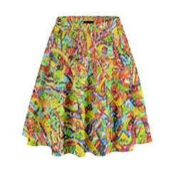 Canvas Acrylic Design Color High Waist Skirt