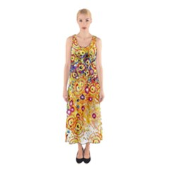 Canvas Acrylic Design Color Sleeveless Maxi Dress