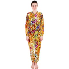 Canvas Acrylic Design Color Onepiece Jumpsuit (ladies)