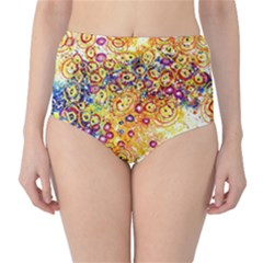 Canvas Acrylic Design Color High Waist Bikini Bottoms